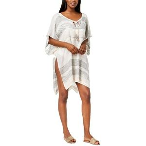 INC Textured Woven Stripe Kaftan Cover-Up OS